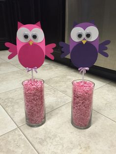 Owl center pieces I made from scratch for a baby shower. They are still unfinished. Thinking of putting of a cute branch or flower in background.