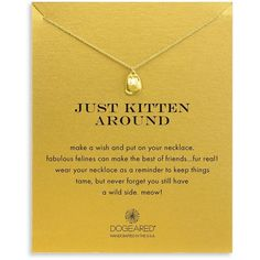 Dogeared 14K Gold Dipped Sterling Silver Kitten Pendant Necklace ($58) ❤ liked on Polyvore featuring jewelry, necklaces, gold, dogeared jewelry, 14k sterling silver pendant, 14 karat gold pendant, sterling silver necklace and gold dipped jewelry