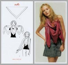 Pretty Portobello: 24 ways to tie a scarf - Hermes knotting cards Ways To Tie Scarves, How To Wear Scarves, Silk Scarves, Cozy Fashion, Fashion Outfits, Fashion Tips, Bandana, Scarf Knots, Facon