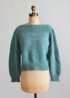 Vintage handknit boatneck sweater