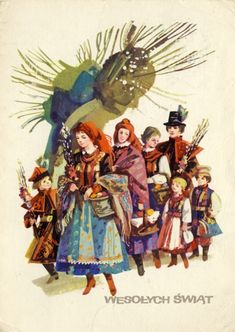 Easter postcards from Poland with illustrations by Maria Orłowska-Gabryś (released between Easter Peeps, Easter Art, Polish Easter Traditions, Polish Folk Art, Art Costume, Folk Costume, Art Deco Posters, Art Deco Period, Historical Images