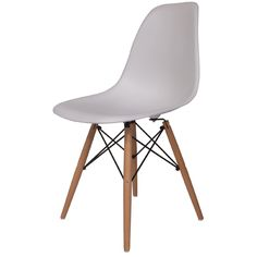 Hard Durable Plastic Molded Side Chair with Wood Dowel Legs - In White