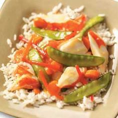 Colorful Crab Stir-Fry Recipe- Recipes  My love for seafood has carried over from childhood, when we used to fish together as a family. So I was happy to find this change-of-pace recipe that combines stir-fry with seafood. It tastes like a special treat but is a breeze to prepare.—Lee Deneau, Lansing, Michigan
