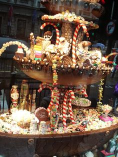 Beautiful candy shop display window