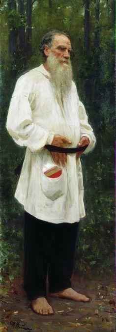 Portrait of Leo Tolstoy in Peasant Clothes - Ilya Repin, 1901