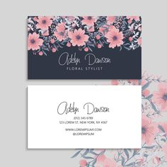 Dark business card with beautiful flowers Business Card Design, Business Cards, Watercolor Effects, Vector Photo, Brand Identity Design, Name Cards, Visual Identity, Vintage Floral, Line Art
