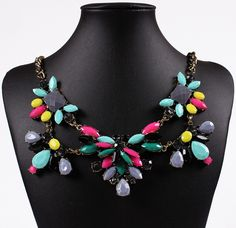 Delicate Alloy Chain Choker Necklace Drill Colorful Resin Beads Women Ladies Jewelry Necklace