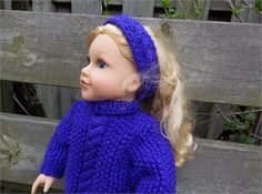 For cooler days, consider this beautiful warm set to fit your 18 doll!!   Pretty knit pullover and matching headband made in lovely soft purple iris yarn. Sweater is knit in seed stitch with a cable down front, ribbed fold-over neckline which closes in the back with a snap. Cable headband to match.    Pattern credit to Stylin Doll Knits. .   *****For US orders please select USPS as I use a cross-border shipping company for those orders. For Canadian orders, please select CanadaPost.   If…