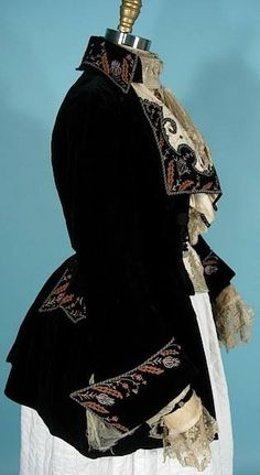 Black velvet embroidered woman's jacket, by Arnold Constable, New York, ca…