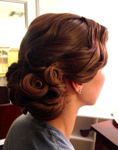 Vintage Updo, Pin Curls, Wedding Hair, Finger Waves, Bridal Hairstyle by A Hair Affair Onlocation Bridal www.facebook.com/onsitebridalbeauty