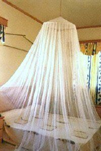 """Nicamaka Ready Net - White by Nicamaka. $29.00. 196 Holes per Square Inch - Easy Packing. Functional Decorative Single-Point White Bed Canopy  - Fits King Size Bed. Travel Net - Ceiling Hook Included. 28"""" Top Ring - 8' high 40' Base - No Side Openning. Great Mosquito Protection - White. The """"Ready Net"""" mosquito net - bed canopy provides essential protection against mosquitoes and other pesky and dangerous flying insects as well as the West Nile Virus. The """"Ready..."""