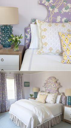 Quadrille Happy Garden headboard and curtains. Interior design by Liz Carroll Interiors.