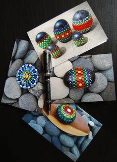 4 Greeting cards painted mandala stone/ All by Mandalaole on Etsy