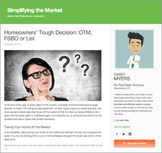 At the end of the year, in every region of the country, hundreds of homeowners have a tough decision to make. The 'listing for sale agreement' on their house is about to expire and they now must decide to either take their house off the market (OTM), For Sale by Owner (FSBO) or list it…