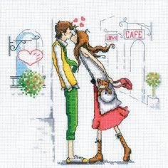 RTO Couple In The City - Cross Stitch Kit. Love themed Cross Stitch Kit featuring a young couple. This Cross Stitch Kit comes complete with 14 Count Zweigart Ai