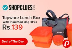 Shopclues #DealoftheDay is offering Topware #LunchBox With Insulated #Bag 4Pcs only in Rs.139. Topware Lunch Box with 4 pcs food grade containers and Insulated bag. Liquid-tight Seal prevents spillage of curries. This lunch box allow you to pack a complete lunch. Smart Bag to carry your food in separate compartments.includes : 1 Tumbler, 1 Tropical Cup, 2 Square Away, 1 Bag.  http://www.paisebachaoindia.com/topware-lunch-box-with-insulated-bag-4pcs-just-at-rs-139-shopclues/