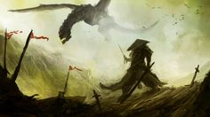 A fantasy drawing of art about dragon and samurai's war - Art ...