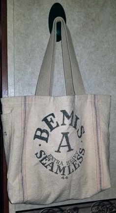Vintage Bemis Seamless Grain sack tote bag 3d4b5ef917768