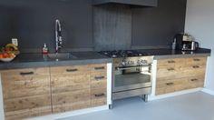 keuken stoer hout beton wit - Google zoeken