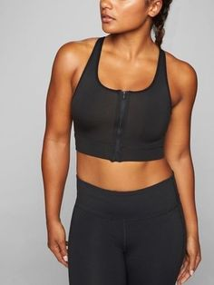11d3d4921e3 NWT Athleta Front Zip Stealth Sports Bra in Black Size Medium M 1218!