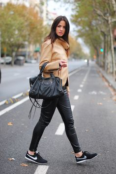 nike+shoes,+balenciaga+bag,+leather+pants,+camel+jacket.jpg 750×1,120 pixels