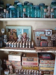 Using vintage storage solutions such as vintage mason jars, cigar boxes, glass vials and wire baskets for organizing art supplies can also make for a space that inspires you to create.  Think about losing some of those plastic storage totes and replacing them with these and similar ideas.