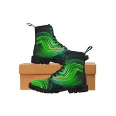 Northern Lights Martin Boots for Men (Black) (Model Custom Boots, Sexy Gifts, Martin Boots, Black Models, Northern Lights, Abstract, Women, Summary, Ebony Models