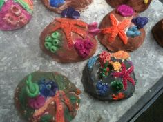 """Kids' art ideas....these clay """"rocks"""" remind me of the kids' ocean bowls from last summer's classes at The Artery Studio!  :):)"""