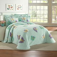 Such a cute chenille butterfly bedspread