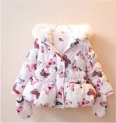 Y069 Retail 2016 New Winter Baby Girl Coat Worm Hooded Print Butterfly Appliques Gloves Girl Parkas Fleece Girl Outerwear Winter