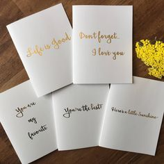 Encouragement Card Set / Gold Foil Card Set / You're the Best Card Set / Blank Greeting Cards by PaisleyAndJuneCardCo on Etsy
