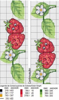 Image result for patrones con moldes de frutas en punto de cruz Cross Stitch Fruit, Cross Stitch Bookmarks, Cross Stitch Charts, Cross Stitching, Cross Stitch Embroidery, Hand Embroidery, Modern Cross Stitch Patterns, Cross Stitch Designs, Broderie Simple