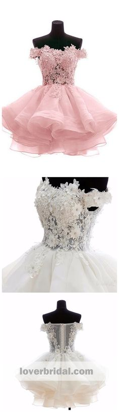 Off Shoulder Pink Lace See Through Short Cheap Homecoming Dresses 2018, CM544#homecomingdresses