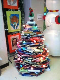 A Christmas tree made out of books - this is in the middle school where i work - genius!