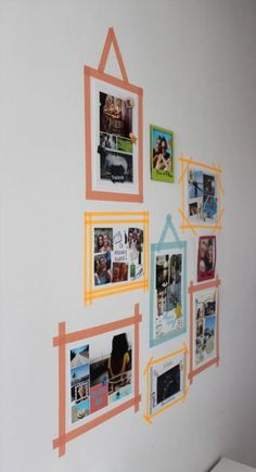Wall Deco at Mini Price: 10 DIY in Masking Tape ~ Aly & # s Chronicles - Best Interior Design Ideas Masking Tape Art, Tape Wall Art, Washi Tape Wall, Diy Washi Tape Frames, Photo Deco, Home Room Design, Diy Décoration, Decorate Your Room, Tape Crafts