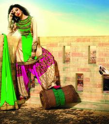 Buy Green and cream Bhagalpuri dupion embroidered unstitched salwar with dupatta dress-material online