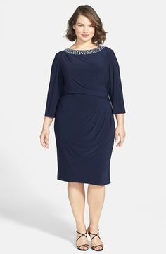 Alex Evenings Beaded Neck Matte Jersey Dress (Plus Size) available at #Nordstrom
