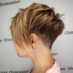 Pixie Cut With Undercut, Edgy Pixie Cuts, Pixie Cut With Bangs, Longer Pixie Haircut, Blonde Pixie Cuts, Short Hair Cuts, Short Hair Styles, Asymmetrical Pixie, Funky Pixie Cut