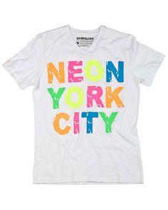 """SPENGLISH """"Neon York City"""" White Graphic Tee"""
