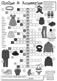Clothes and Accessories - crossword worksheet - Free ESL printable worksheets made by teachers Teach English To Kids, Kids English, English Class, English Lessons, Learn English, English Test, Teaching Outfits, Teaching Jobs, Teaching Activities