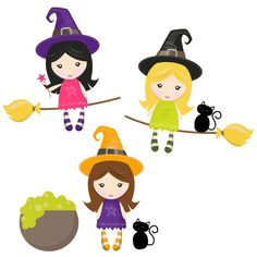 Little Witches Digital Clipart Set - Clip Art for Commercial and Personal Use. $3.60, via Etsy.