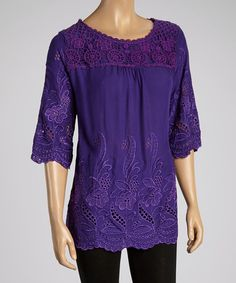 Another great find on #zulily! Purple Crochet Embroidered Top - Women #zulilyfinds