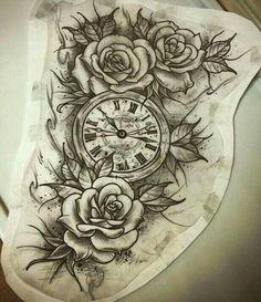 Really want this as a thigh tattoo Tattoos Masculinas, Watch Tattoos, Best Sleeve Tattoos, Time Tattoos, Tattoo Drawings, Body Art Tattoos, Cool Tattoos, Tattos, Compass Thigh Tattoo