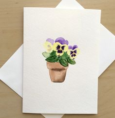 85 best hand painted watercolor cards images on pinterest paint hand painted greeting card 5x7 pansy blank card by cardwithheart blank cards watercolor cards m4hsunfo