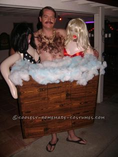 Homemade Hairy Hot-Tub Guy with Hotties Costume… Coolest Halloween Costume Contest