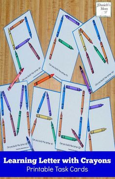 Learning Letters with Crayons Printable Task Cards - PintoPin Preschool Letters, Learning Letters, Kindergarten Literacy, Preschool Classroom, Alphabet Letters, Classroom Decor, Spanish Alphabet, Letter Tracing, Early Literacy