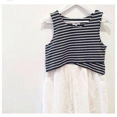 Only 1 left of our Sunco Paris stripe and lace dress $199 #marshmellowboutique #stripedress #suncoparis #lastchance #fashion #woman