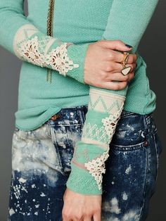 add lace or doilies to long sleeves