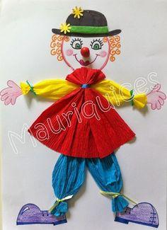 Tudom, hogy már mutattam bohócos munkákat, és talán valaki szerint egy kicsit sok is ennyi bohóc egy tanévre, de valahogy nem tudtam közülü... Kids Crafts, Clown Crafts, Circus Crafts, Carnival Crafts, Hobbies And Crafts, Preschool Crafts, Projects For Kids, Diy And Crafts, Arts And Crafts