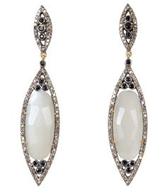 Play with proportions at #ShopBAZAAR - Caviar Dreams Moonstone and Sapphire Drop Earrings